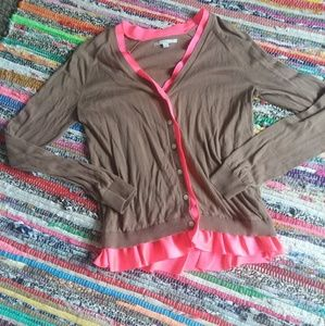 Gap womens brown and pink ruffle cardigan size M